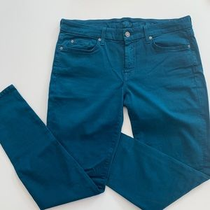 7 for all mankind teal skinny jeans size size 31